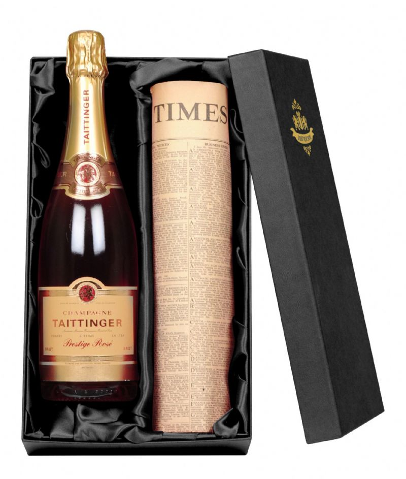Tattinger Rose Champagne & Newspaper Gift Set | Perfect Gift for a loved one